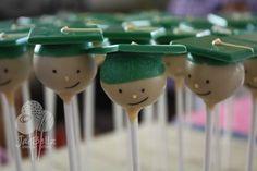 Green Graduation Caps Cake Pops