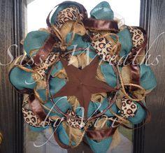 Western Star Burlap and Turquoise Wreath by SassyWreathsByViri, $70.00 instead of cheetah camo #western