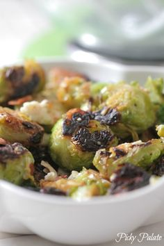Gorgonzola, Almond and Pear Roasted Brussels Sprouts Recipe