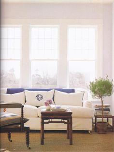 A monogram for your sofa. via vivafullhouse