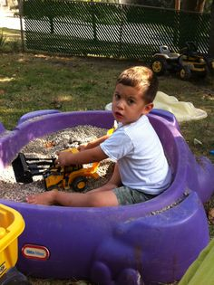Great alternative to the sandbox mess in the house after playing. Just fill a kiddie pool with 1 bag of landscaping pebbles ($3)  from Lowe's. Add construction vehicles. Keeps my son content for at least 1-2 hours. He LOVES it.