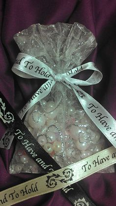 New ribbon saying & colors available to adorn these beautiful handmade french seam silver glitter favor bags! Ribbons in ivory, gold, silver & black.  www.etsy.com/listing/162469406/romantic-silver-glitter-hearts-french favor bags, ribbon