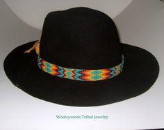 Beaded Hatband Native American Loom Woven Creek Design | Wooleycreek - Accessories on ArtFire