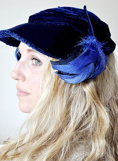 blue velvet, clamshel hat, hat lover, royal blue