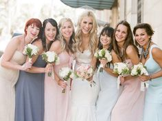 Mix n Match bridesmaids in perfect pastels. <3