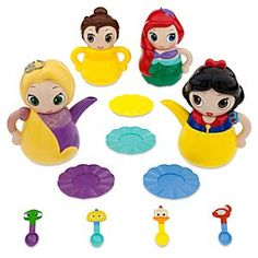 Disney Princess Q-Tea Play Set | Disney StoreDisney Princess Q-Tea Play Set - Let her next tea party be the most imaginative ever with our Princess Q-Tea set that creates all the components out of toy princess cuties! Find over 20-pieces made from four fairytale favorites!