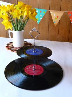 Record Cakestand 2 tier Vintage Vinyl Record Retro Party Server Victorian Style Steampunk Cake stand via Etsy