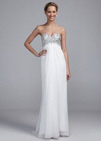Chic and comfortable, this dazzling long chiffon gown will be perfect for your special day!  Sheer Chiffon catches the light beautifully for a truly radiant look that is both flattering and unique.  Bodice features eye-catching beading along the neckline.  Empire waist creates an elongated silhouette.  Available in: Soft White. Sizes 2-16.  Fully lined. Back zip. Imported polyester. Dry clean only.