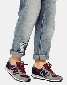 Suede/Mesh Gray and Burgundy Sneakers