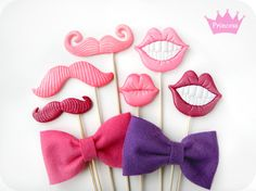 Photo Booth Props - Princess Party Photo Booth- pink mustache, lips and bow ties photo booth prop