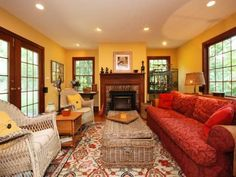 colonial living room in yellow and red