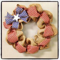 4th of July Chevron Burlap Wreath