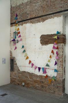on a brick wall