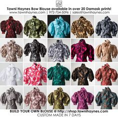 New Bow Blouse color options! Build Your Own Blouse! Custom Made In 7 Days! Choose your collar, neck line, closure, sleeve type, buttons, cuffs & more! Email sales@tawnihaynes.com / Call 972-754-5096 with questions, or for help with your order! Blessings!