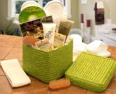 Spa gift basket ~ relaxing CD, herbal tea, moisturizing body lotion, bath gel, bath slippers, makeup and shower headband, toes and nails bristle brush.