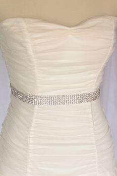 Megan bridal belt sash, Rhinestone beaded bridal belt sash, crystal sash. $52.00, via Etsy.