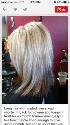 Medium length hair. Lots of layers. Teased