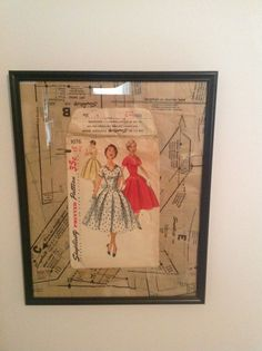 Sewing pattern art - in honor of my Mom.  Sewing pattern in frame - antique patterns.  Easy craft project. Sewing/craft room art or decor.