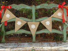 Holiday Snowflake Burlap Banner Christmas Banner