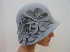 Grey flower bucket hat !!
