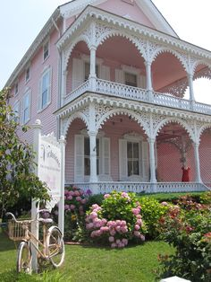 The Pink House boutique also known as the Eldridge Johnson House  in Cape May, NJ