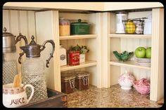 kitchen counter corner shelves