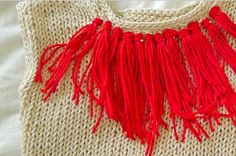 red fring, fashion, knit sweaters, fringes