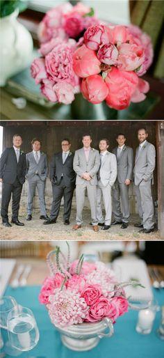Groom in tan leather while groomsmen wear black shoes...