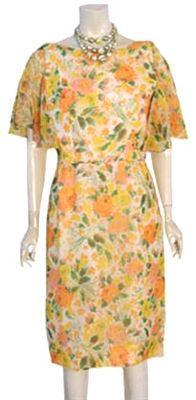 1950s Vintage Chiffon Dress Sheer Cape Capelet Flutter Sleeves | #eBay