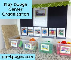 Play Dough Center Organization via www.pre-kpages.com