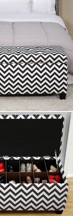 Chevron Upholstered Shoe Storage Bench // Black  White