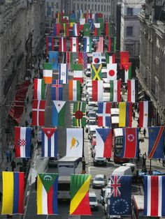 Flags from every Olympic nation have gone up in London's Regent Street. Can you name them all?