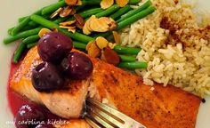 Broiled Salmon with Fresh Red Cherry Sauce