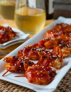 Sweet and Spicy Shrimp, Pineapple and Bacon Skewers - a quick and easy (and super delicious) appetizer!