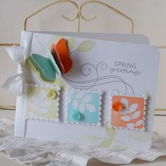Nice use of square stamps and pop-up butterfly, also love the colours.