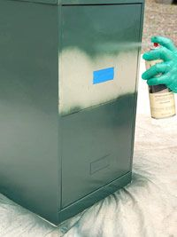 metal file cabinet. spray paint it. paint front, metal file, spray painting