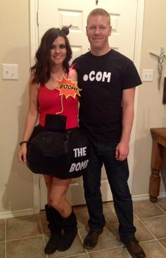 """Everyone knows we're """"TheBomb.com"""" it was hard coming up with a couples costume for a husband that doesn't like dressing up. This was by far my favorite Halloween costume and everyone thought it was hilarious."""