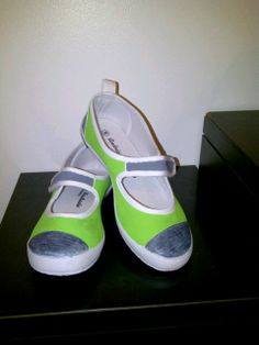 Create your own shoes.  Start with basic white canvas shoes.  Use fabric paint to create your own designs.  Let dry between coats, spray with fabric dye setter.