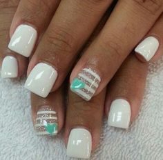 Simple white nail design