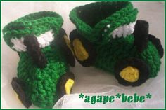 Crochet Tractor Baby Boy Booties Totally getting these for our little man!