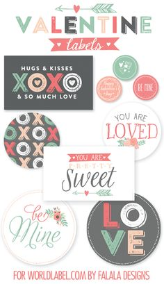 Free Printable Labels/cards for Valentine Day