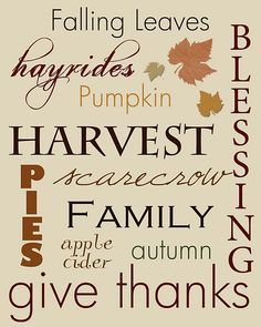 Fall/Thanksgiving Subway Art Printables