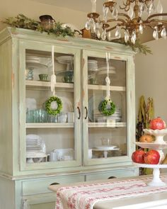 Ideas on how to decorate hutches and cabinets for the holidays