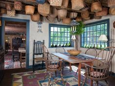dining rooms, primit, houses, dine room, pilgrims, kitchen, windsor chairs, hanging baskets, new hampshire