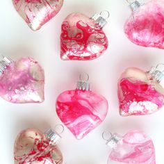 Make // Marbleized Glass Hearts