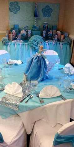 Frozen girl birthday Party table! See more party ideas at CatchMyParty.com!