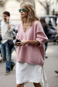 oversized rose-pink sweater