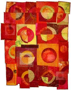 artquilt, red, catherin kleeman, diy idea, gift idea, sun