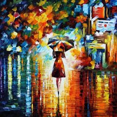 Loved this one!  http://milenskiart.com/ oil paintings, rain princess, leonidafremov, colors, umbrella, red velvet cookies, artist, princesses, leonid afremov