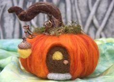 Pumpkin House fall autumn decoration needle felt by woolcrazy